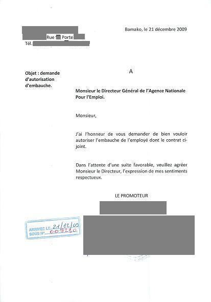 Décharge sur la copie de la demande d'autorisation d'embauche