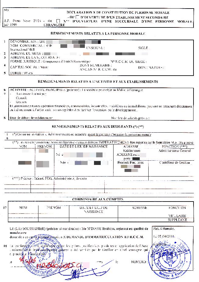 Eregulations mali for Inscription d et co