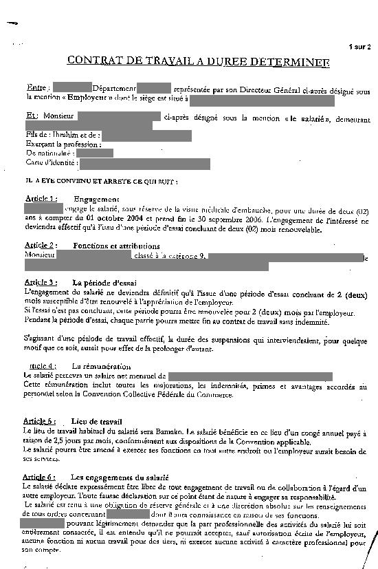 copie contrat de travail eRegulations Mali copie contrat de travail