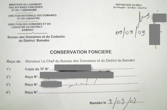 Conservation foncière remplie