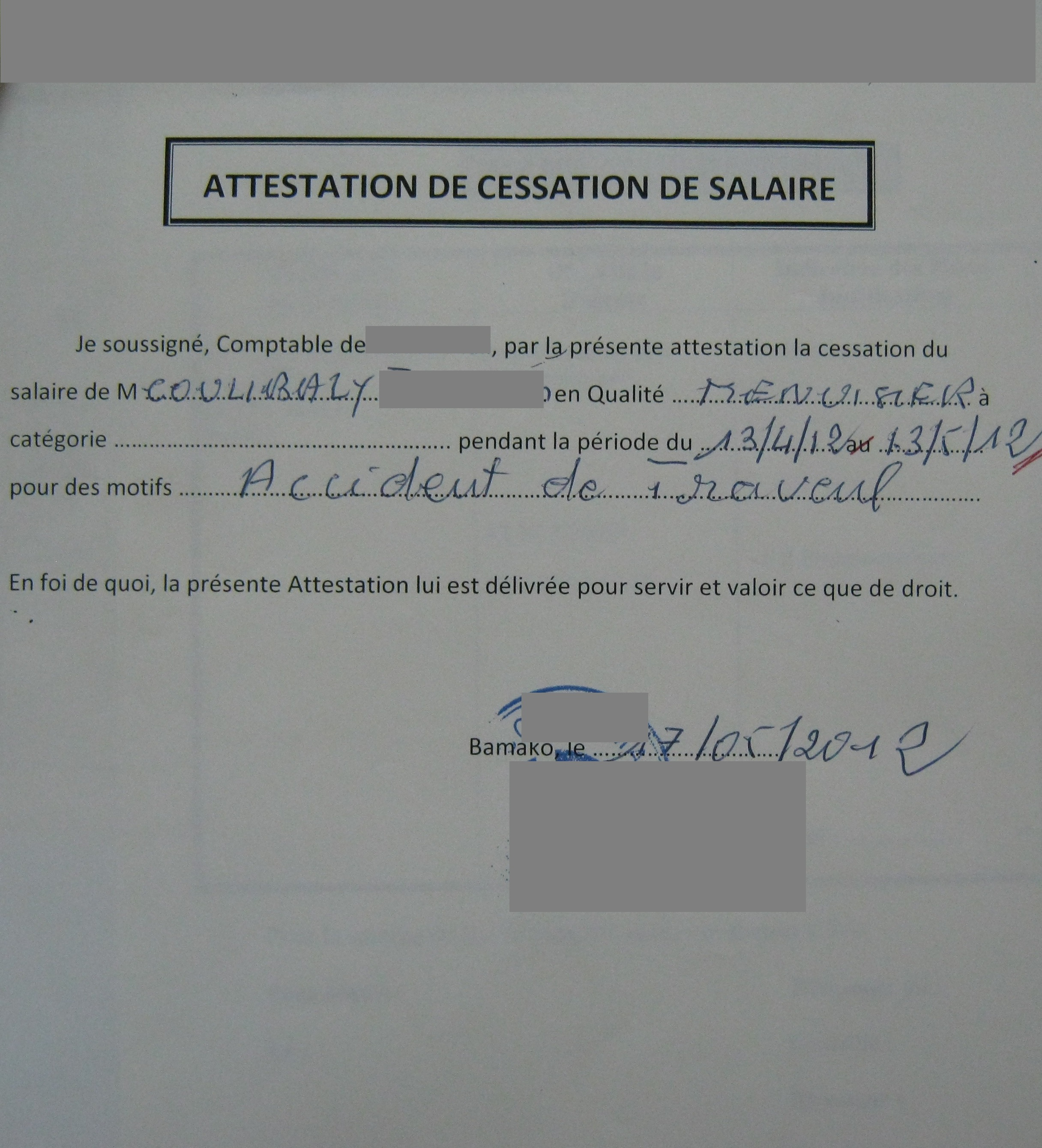 remplir certificat de cession