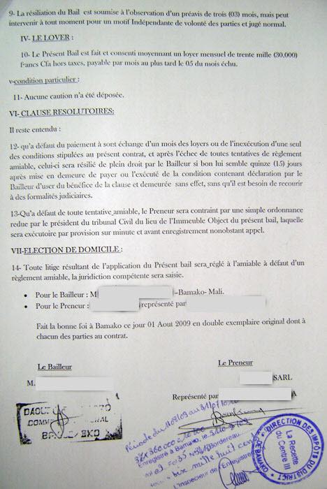 Contrat de bail enregistré